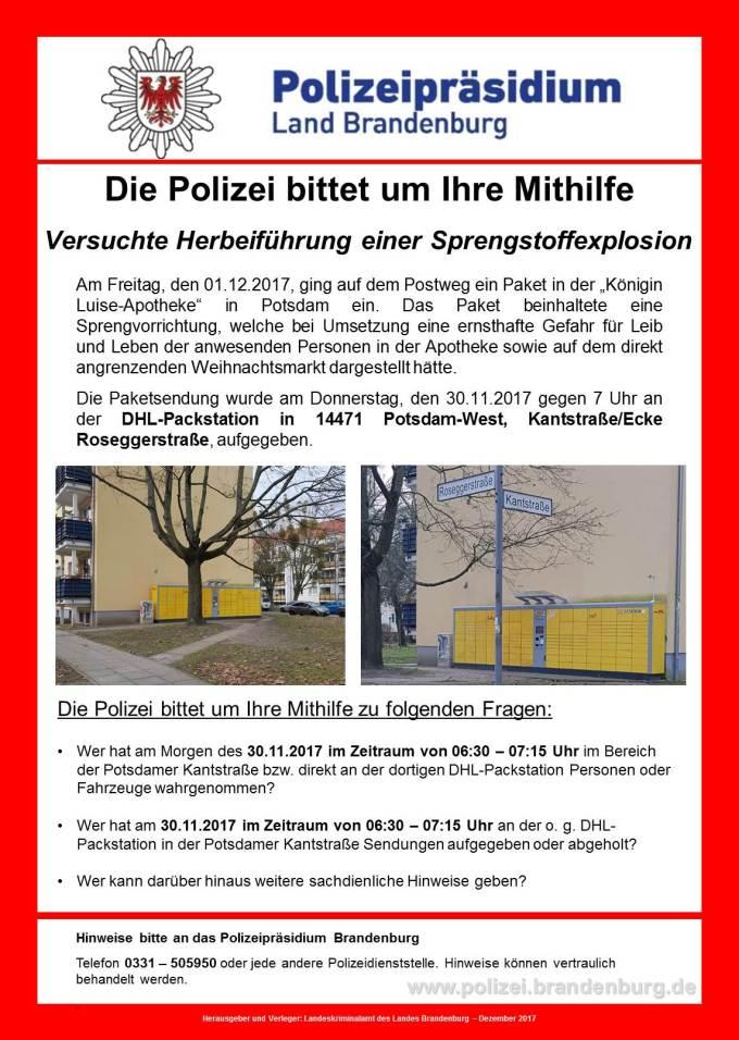 2017 12 03%20Fahndungsplakat%20Kantstra%C3%9Fe.jpg.161131 - Fahndungsaufruf und Gefahrenhinweis nach Bomben-Alarm in Potsdam